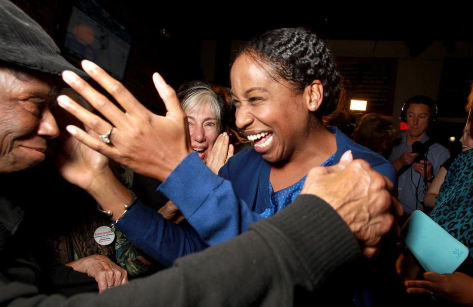Dorchester, MA: 11-03-15: Boston City Council candidate Andrea Joy Campbell greets wellwishers as she at her election night party at the Blarney Stone in Dorchester, Mass. Nov. 3, 3015. Photo/John Blanding, Boston Globe staff story/Irons, Ryan, Metro ( 04councilelex )